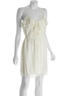 Shoshanna ivory leaf print silk 'Corsica' cami ruffle dress