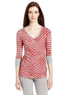 Calvin Klein Performance Women's Mitered Stripe Elbow Sleeve Tee