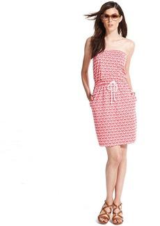 Tommy Hilfiger Strapless Anchor-Print Drawstring Dress