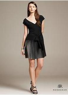 BR Monogram Belted Pleat Dress