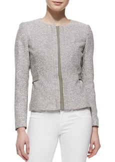 Lafayette 148 New York Bently Hidden-Zip-Front Tweed Jacket, Mica