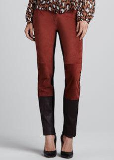 Diane von Furstenberg Cecily Suede/Leather & Knit Pants