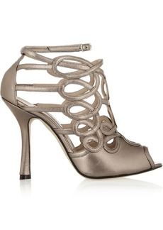 Oscar de la Renta Napo cutout metallic leather sandals