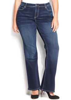 INC International Concepts Plus Size Slim Tech Fit Bootcut Jeans, Medium Blue Wash