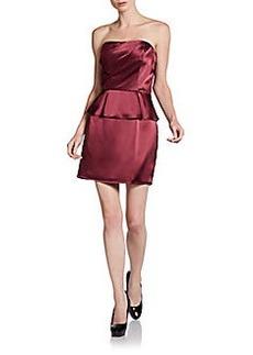 ABS Strapless Peplum Cocktail Dress