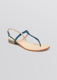 Delman Open Toe Flat Sandals - Cate T Strap
