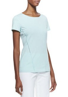 Lafayette 148 New York Mesh-Inset Scoop-Neck Tee, Dewdrop