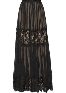 Oscar de la Renta Silk-chiffon and lace skirt