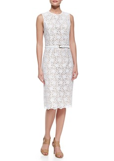 Michael Kors Sleeveless Eyelet Dress, Optic White