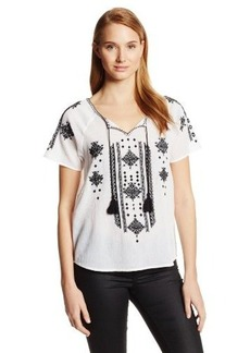 Lucky Brand Women's Black and White Embroidered Peasant Top