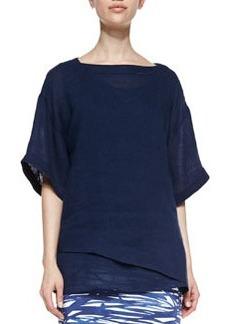 Lafayette 148 New York Lina Short-Sleeve Linen Top