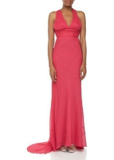 Nicole Miller Halter Glittery Crepe Gown, Berry