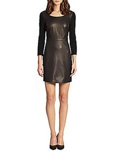 Diane von Furstenberg Zarita Leather Combo V-Back Dress
