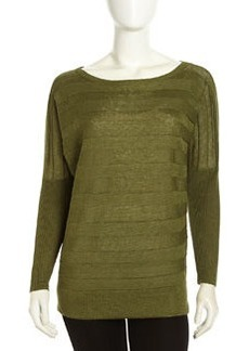 Lafayette 148 New York Pullover Striped Mix-Knit Linen Sweater, Chive