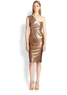 Donna Karan One-Shoulder Ombré Cocktail Dress