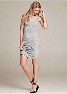 Space-Dye Faux-Wrap Dress