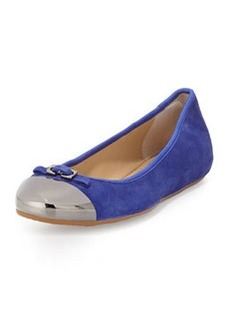Diane von Furstenberg Bonita Cap-Toe Looped Bow Ballet Flat, Night Sky