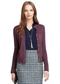 Metallic Wool Button-Down Cardigan