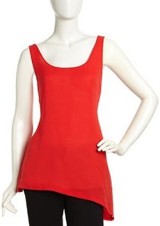 Lafayette 148 New York Asymmetrical Voile Tank Top, Rosehip