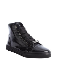 Gucci black leather cap toe hi top sneakers