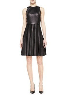JASON WU Combo Leather & Suede Paneled Dress