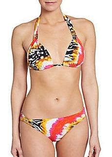 Natori Mixed-Print Triangle Bikini Top