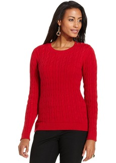 Charter Club Petite Cable-Knit Crew-Neck Sweater