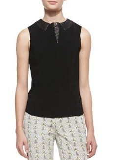 Easy Becker Sleeveless Leather Trim Top, Black   Easy Becker Sleeveless Leather Trim Top, Black