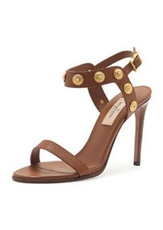 Valentino Leather Medallion Stud Sandal, Cognac
