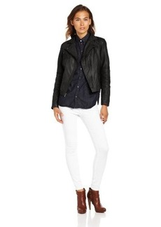Cole Haan Women's Smooth Leather Moto Jacket