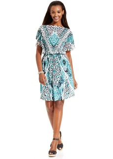 Style&co. Petite Flutter-Sleeve Print Dress