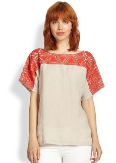 Lafayette 148 New York Linen Layton Applique Top