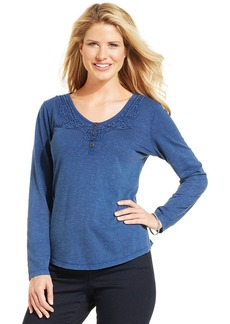 Style&co. Crochet-Inset Henley Top