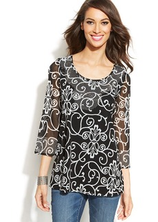 INC International Concepts Three-Quarter-Sleeve Embellished Printed Tunic Top