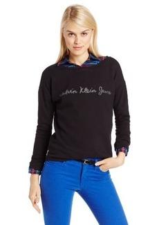 Calvin Klein Jeans Women's Long Sleeve Logo Crew Neck Hoodie