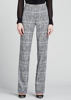 Escada Glen Plaid Classic Pants, Black