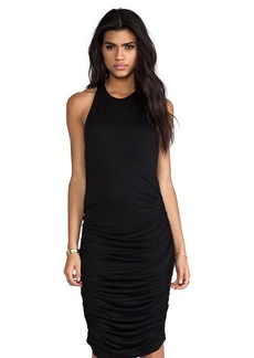 Alice + Olivia Leather Zip Back Ruched Dress in Black