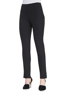 Lela Rose Catherine Slim Straight-Leg Pants, Black