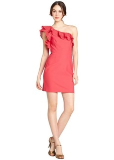 Laundry by Shelli Segal geranium one-shoulder cutout ruffle dress