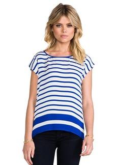 Joie Terry B Striped Matte Silk Top in Blue