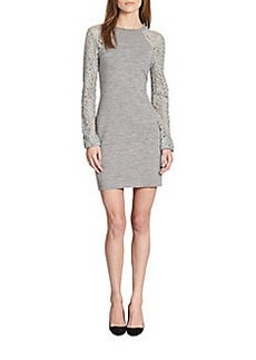 Diane von Furstenberg Isla Lace-Paneled Raglan-Sleeved Stretch Knit Dress