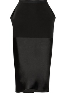 Lanvin Layered satin and ponte pencil skirt