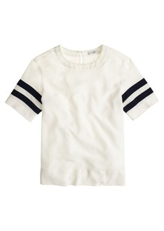 Silk stripe-sleeve tee