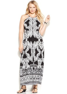 INC International Concepts Plus Size Printed Maxi Halter Dress