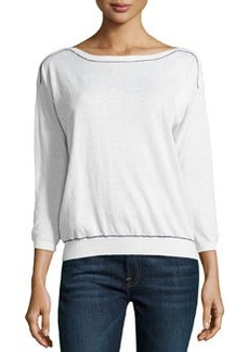 Joie Long-Sleeve Cashmere-Blend Sweater, Porcelain/Dark Navy