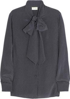 Saint Laurent Polka-dot silk pussy-bow blouse