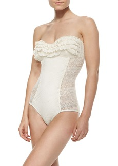 Juicy Couture Ruffle-Detail Bandeau Maillot Swimsuit, Angel