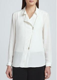 Go Silk Silk Zip-Front Moto Jacket, Petite
