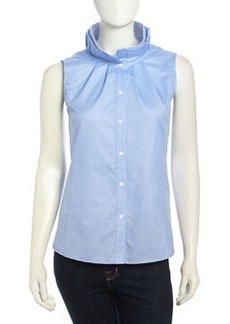 Lafayette 148 New York Sleeveless Two-Tone Jacquard Funnel Blouse, Sail Melan