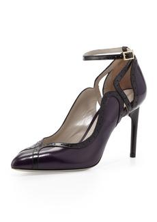 Jason Wu Brogue-Trim Ankle-Wrap Pump, Violet/Black